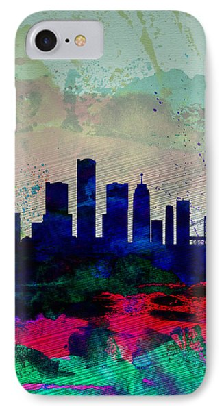 Detroit Watercolor Skyline IPhone Case by Naxart Studio