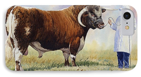 English Longhorn Bull Phone Case by Anthony Forster
