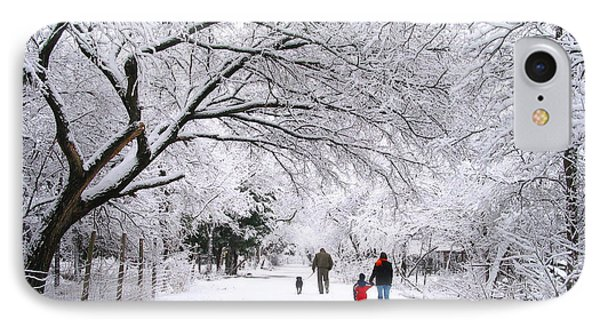 Family Walk In The Snow IPhone Case