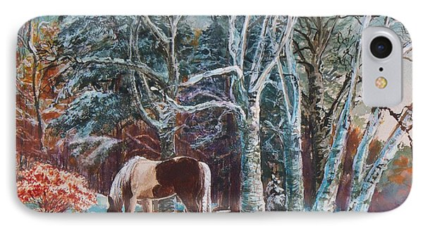 IPhone Case featuring the painting  First Snow by Joy Nichols