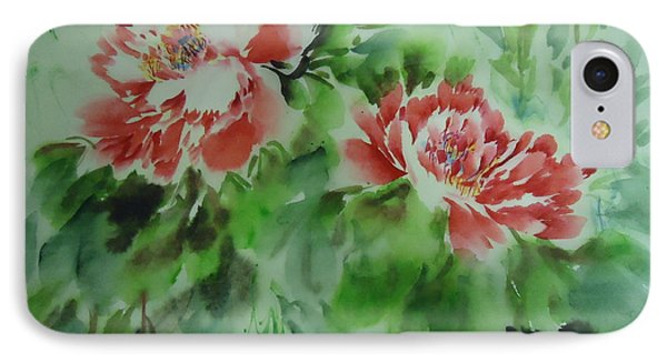 IPhone Case featuring the painting  Flower0728-5 by Dongling Sun
