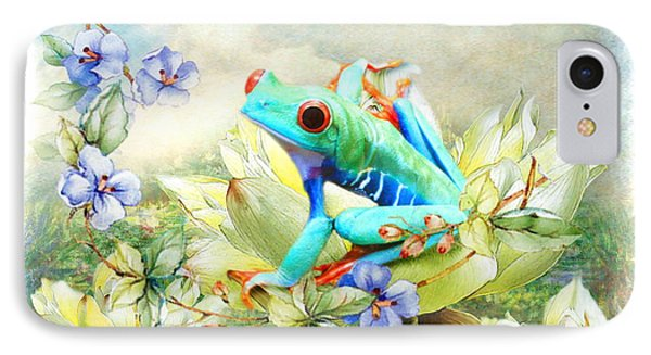IPhone Case featuring the digital art  Frog On The Flowers by Trudi Simmonds