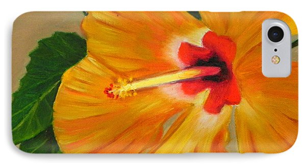 Golden Glow - Hibiscus Flower IPhone Case by Shelia Kempf