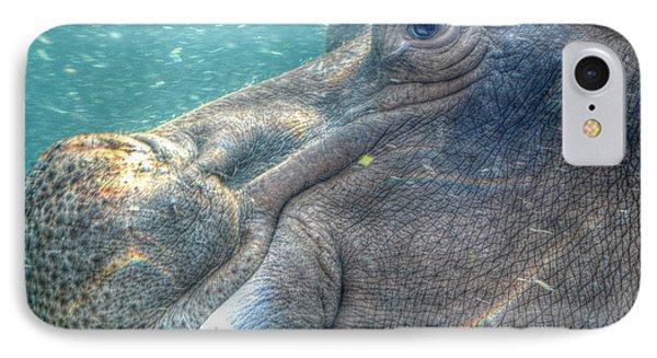 Hippopotamus Smiling Underwater  IPhone Case by Peggy Franz