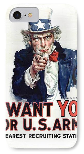 I Want You For The Us Army Recruitment Poster During World War I IPhone Case by James Montgomery Flagg