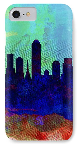 IIndianapolis Watercolor Skyline IPhone Case by Naxart Studio