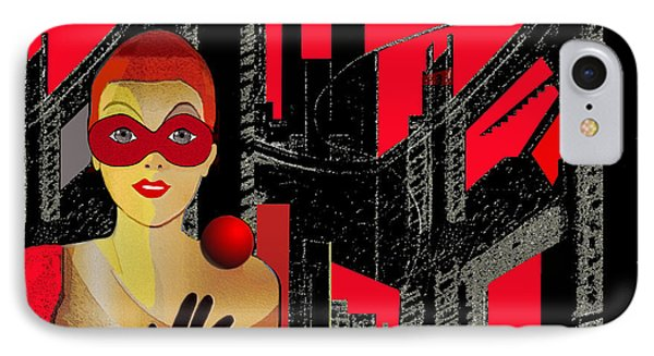 014 - In  Red   City Darkness IPhone Case by Irmgard Schoendorf Welch