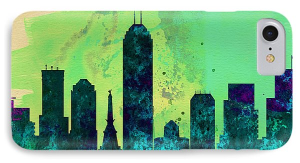 Indianapolis City Skyline IPhone Case by Naxart Studio