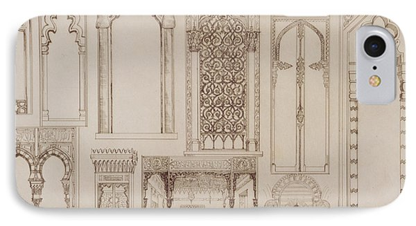 Islamic And Moorish Design For Shutters And Divans Phone Case by Jean Francois Albanis de Beaumont