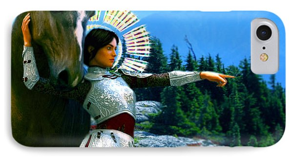 IPhone Case featuring the painting  Joan Of Arc Visionary by Suzanne Silvir