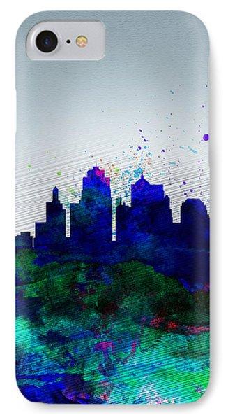 Kansas City Watercolor Skyline IPhone Case by Naxart Studio