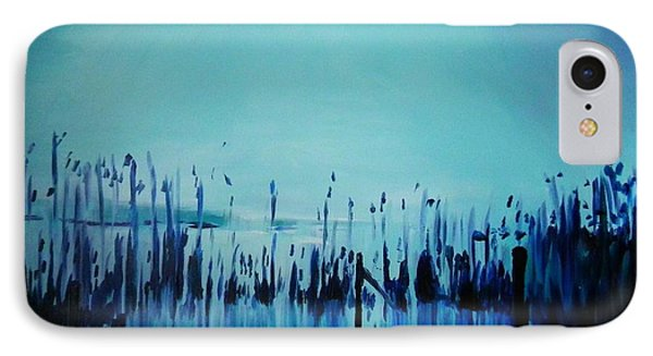 Lake With Reeds In Blue Phone Case by Jolanta Shiloni