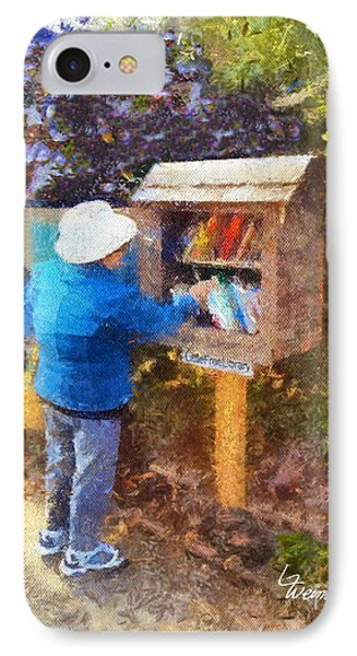 IPhone Case featuring the painting  Alameda  Little Free Library by Linda Weinstock