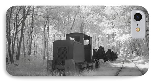 Locomotive With Wagons In Infrared Light In The Forest In Netherlands IPhone Case by Ronald Jansen