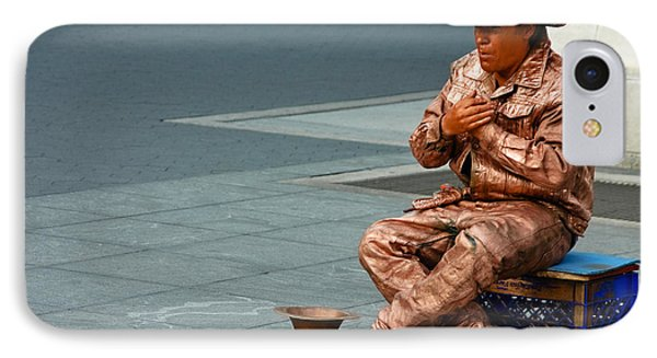 Man Painted In Copper IPhone Case by Jose Rojas