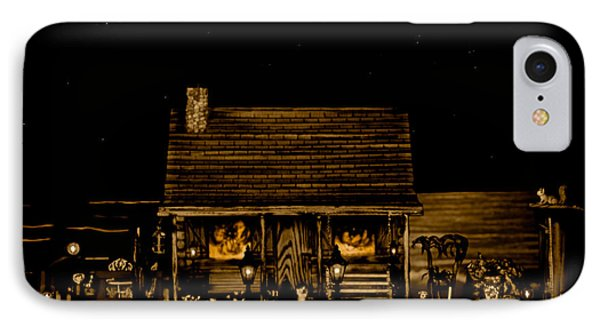 Miniature Log Cabin Scene With The Classic Old Vintage 1959 Dodge Royal Convertible In Sepia Color Phone Case by Leslie Crotty