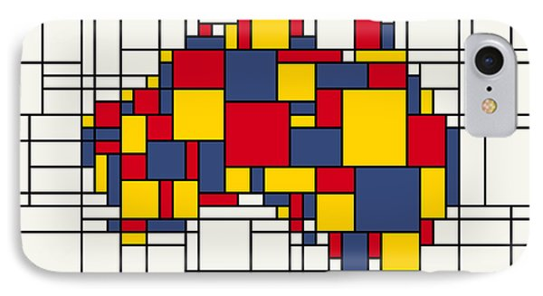 Mondrian Inspired Australia Map IPhone Case by Michael Tompsett