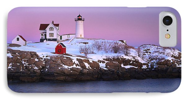 Nubble Light Under A Pastel Winter Sky Phone Case by Jeff Sinon