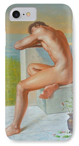 Original Classic Oil Painting Man Body Art  Male Nude And Vase #16-2-4-09 IPhone Case by Hongtao     Huang