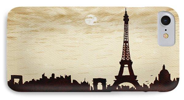 Paris Under Moonlight Silhouette France Phone Case by Georgeta  Blanaru