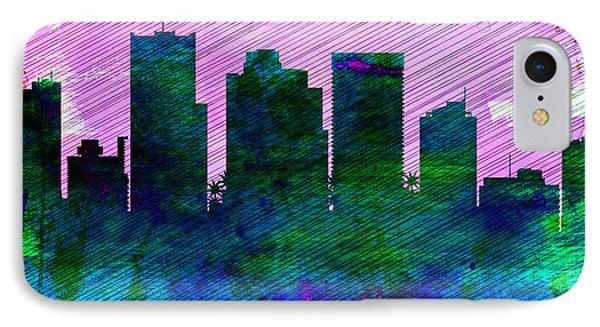 Phoenix City Skyline IPhone Case by Naxart Studio