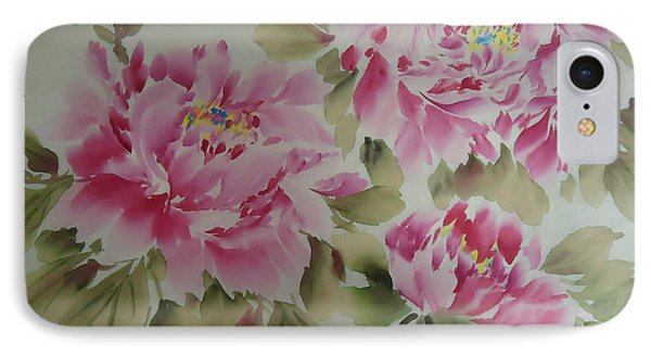 Pink  Peony 014 IPhone Case by Dongling Sun