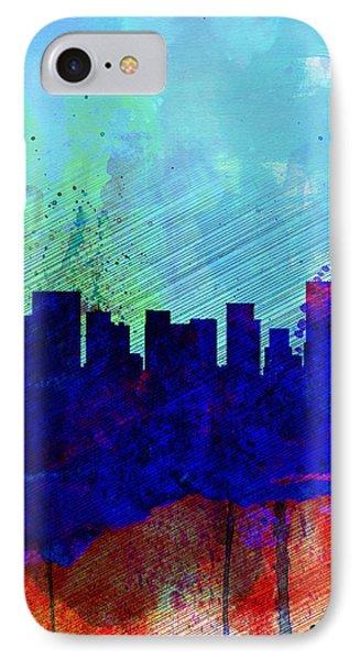 Portland Watercolor Skyline IPhone Case by Naxart Studio