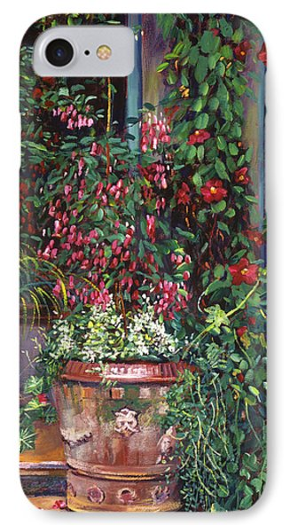 Pot Of Fuschia Flowers IPhone Case by David Lloyd Glover