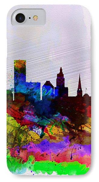 Providence Watercolor Skyline IPhone Case by Naxart Studio