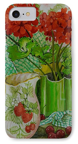 Red Geranium With The Strawberry Jug And Cherries IPhone Case by Joan Thewsey
