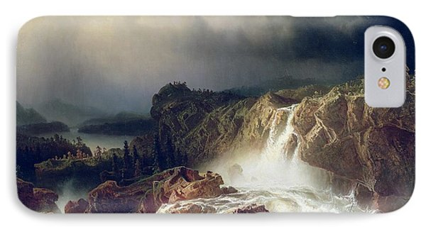 Rocky Landscape With Waterfall In Smaland Phone Case by Marcus Larson