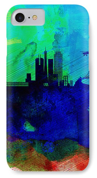 San Francisco Watercolor Skyline 2 IPhone Case by Naxart Studio