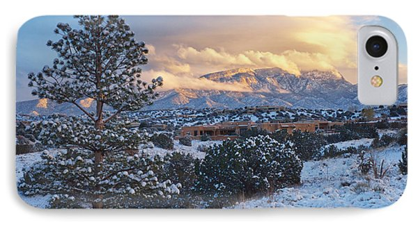 Sandia Mountains With Snow At Sunset IPhone Case by Mary Lee Dereske