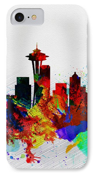 Seattle Watercolor Skyline 2 IPhone Case by Naxart Studio