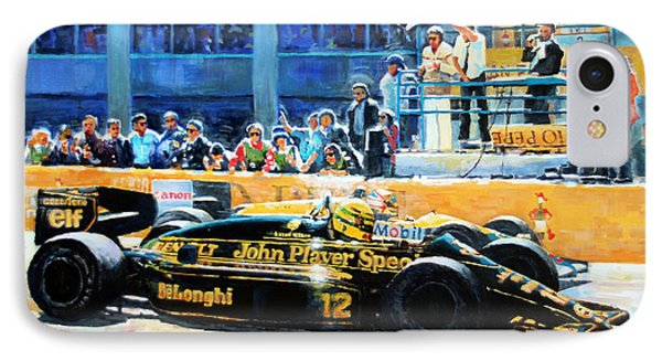 Senna Vs Mansell F1 Spanish Gp 1986 IPhone Case by Yuriy Shevchuk
