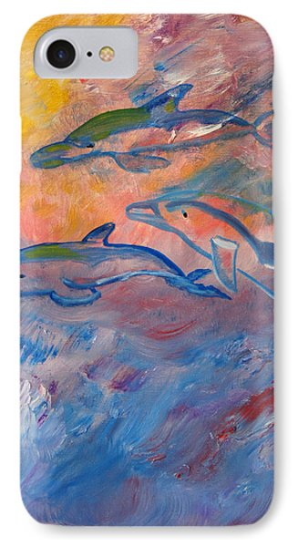 Soaring Dolphins IPhone Case by Meryl Goudey