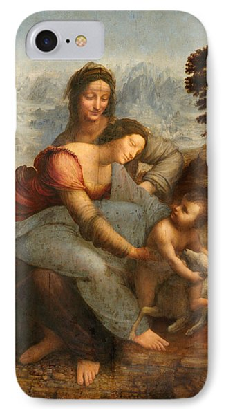 The Virgin And Child With St. Anne IPhone Case by Leonardo Da Vinci