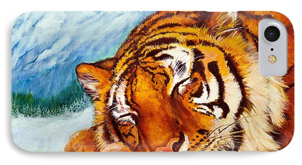 IPhone Case featuring the painting  Tiger Sleeping In Snow by Bob and Nadine Johnston