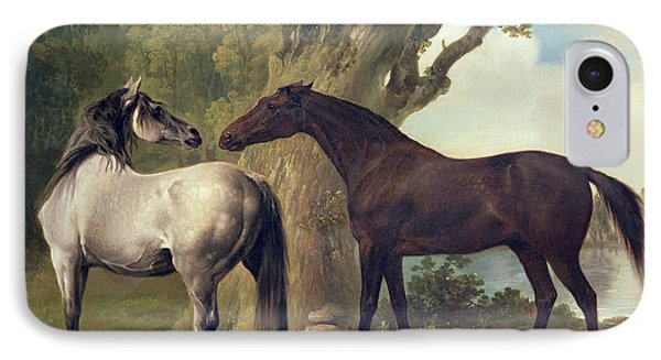 Two Horses In A Landscape IPhone Case by George Stubbs