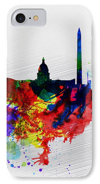 Washington Dc Watercolor Skyline 1 IPhone Case by Naxart Studio