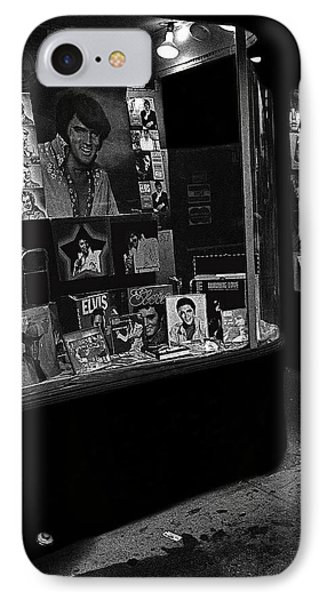 IPhone Case featuring the photograph  Window Display Night Of Elvis Presley's Death Recordland Portland Maine  1977 by David Lee Guss