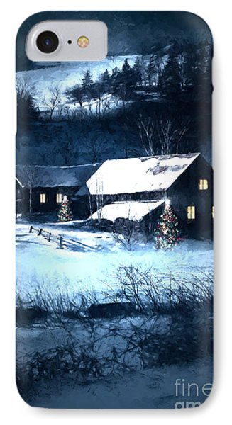 Snow Scene Of A Farmhouse At Night/ Digital Painting IPhone Case by Sandra Cunningham