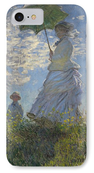 Woman With A Parasol Madame Monet And Her Son IPhone Case by Claude Monet