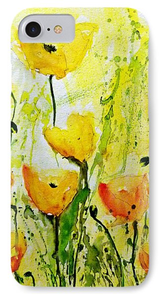 Yellow Poppy 2 - Abstract Floral Painting Phone Case by Ismeta Gruenwald