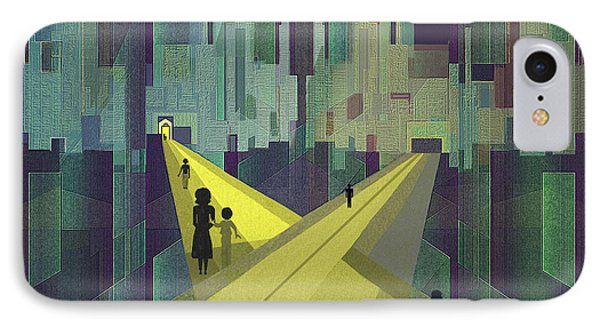 003 - Nightwalking  To A Distant City IPhone Case by Irmgard Schoendorf Welch