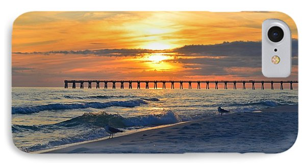 0108 Sunset Colors Over Navarre Pier On Navarre Beach With Gulls IPhone Case by Jeff at JSJ Photography