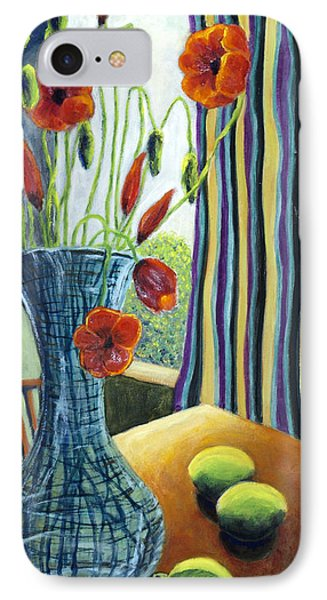 IPhone Case featuring the painting 01295 Poppies And Limes by AnneKarin Glass