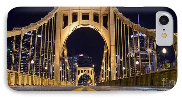 0304 Roberto Clemente Bridge Pittsburgh IPhone Case by Steve Sturgill