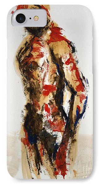 IPhone Case featuring the painting 04870 Serious Soldier by AnneKarin Glass