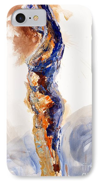 IPhone Case featuring the painting 04894 Stretch Up by AnneKarin Glass